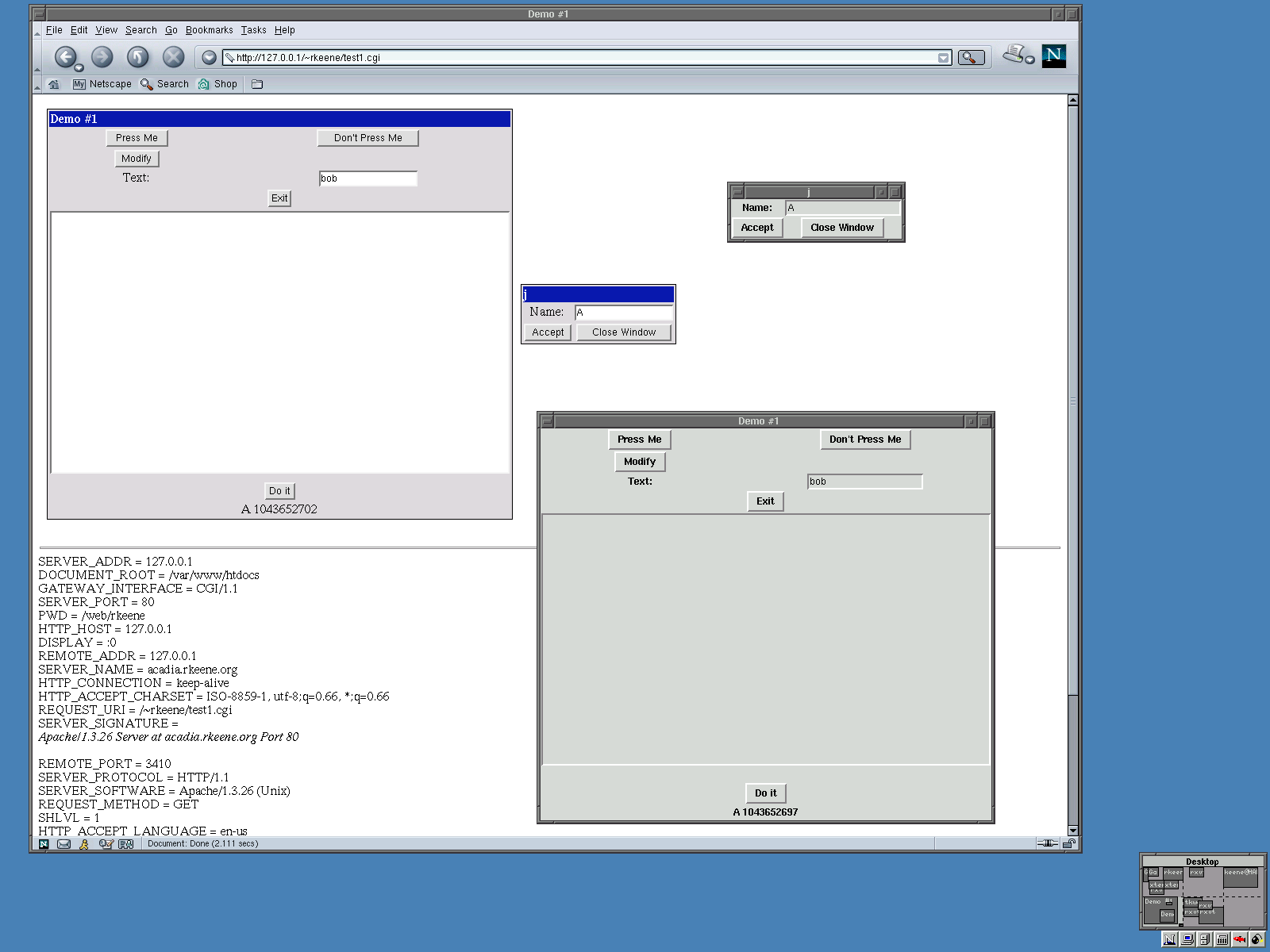 This is a screenshot of a TkWeb-ified application (sample application in archive) and the same source code running using Tk-X11.
